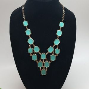 Turquoise and Gold accent Statement Necklace